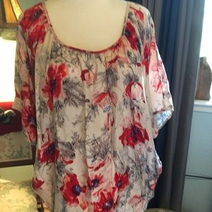 CAbi Grey Blue, Red Floral Bat Wing Silk Blouse
